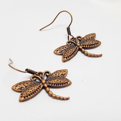 Copper Dragonflies - Drop Earrings