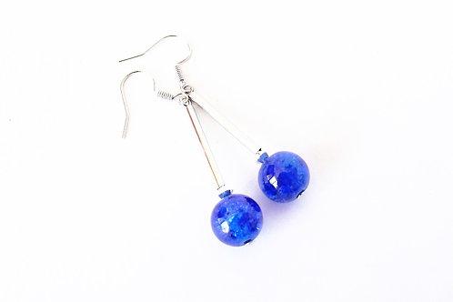 Sapphire Blue Glass and Silver Leverback Earrings