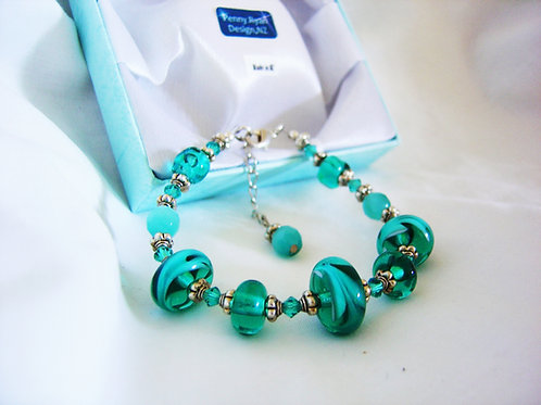 Teal Blue Murano Glass Bracelet - made to order