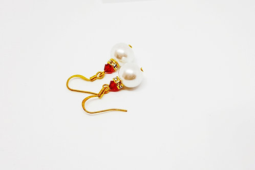 Large White Pearl and Red Crystal on Gold Earrings