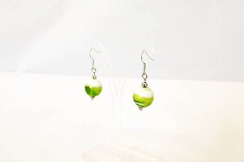 Lime Green and White Glass & Sterling Silver Earrings