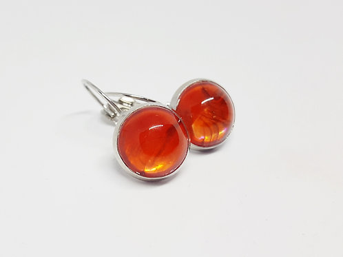 Streaky Red .925 fine Silver Leverback Earrings