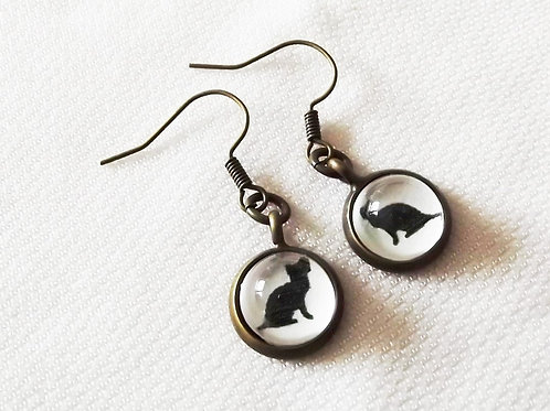 Black Cat Earrings in Brass