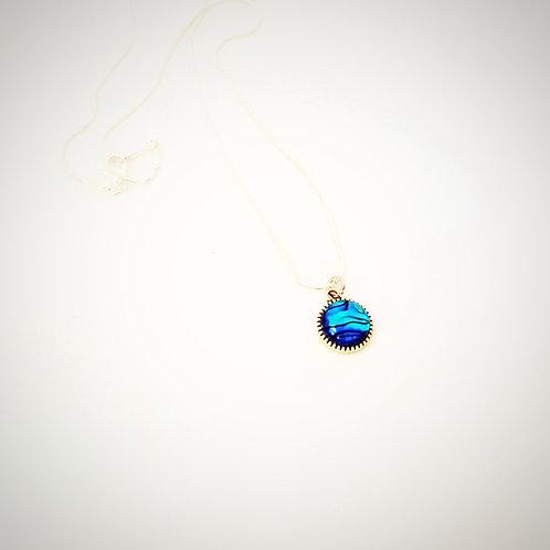 NZ Paua Shell Blue Round Pendant