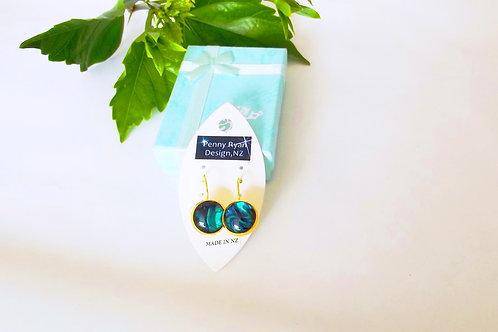 Blue Paua Shell on 18k fine gold leverback Earrings