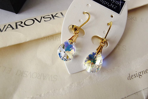 Swarovski Teardrop AB Crystal Earrings on Gold or Silver