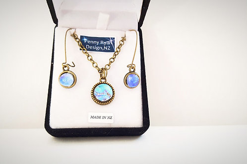 """Glacier Blue"" matching Pendant and Earring set"