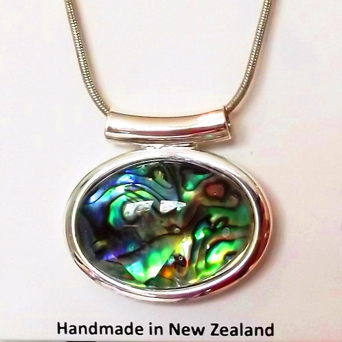 NZ Paua Shell Oval Pendant