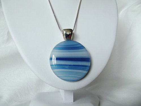 """Seascape"" - Beautiful Blue Art Glass Pendant"