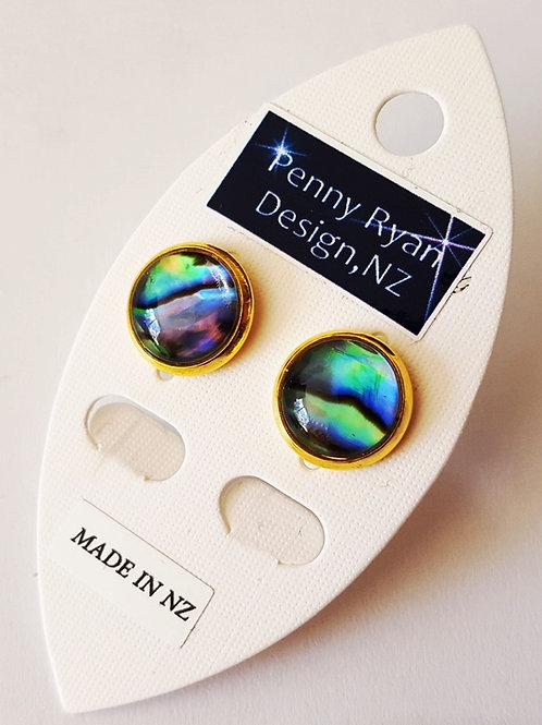 Natural Paua Shell  18k fine Gold Stud Earrings, 3 sizes