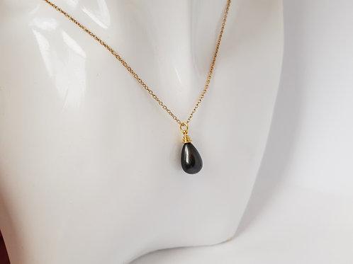 Stunning Large Peacock Black Pearl Pendant on Gold