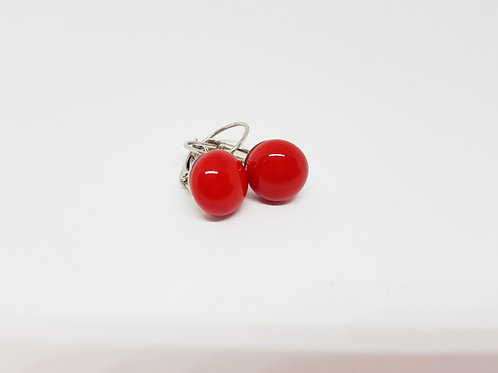 Gorgeous Scarlet Red Art Glass Silver Leverback Earrings