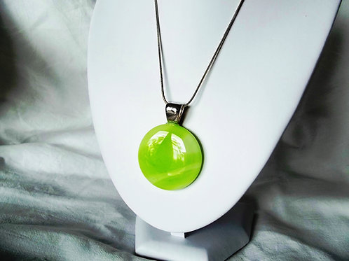 """Luscious Lime"" - Beautiful Lime Green  Art Glass Pendant"