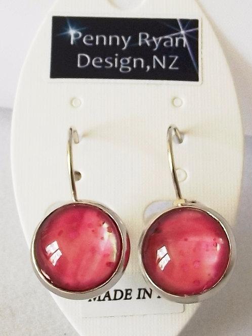Pearlised Pink Silver Leverback Earrings