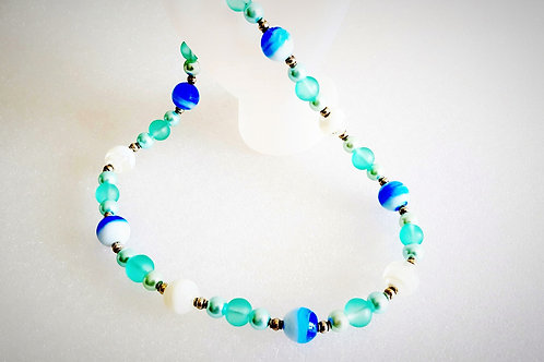 Marine Blue, Aqua and White Necklace