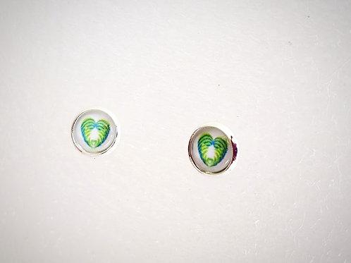 Aroha = Love : Koru Heart Fern - .925 fine Silver or 18k Fine Gold Earring Studs