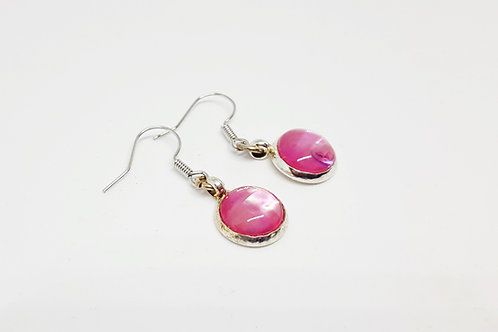 Pink and .925 fine Silver Drop Earrings
