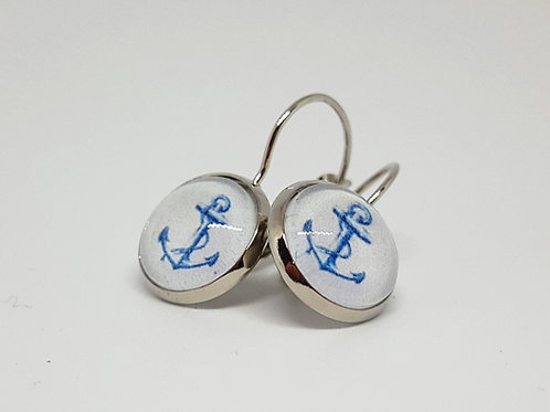 Anchor & Rope Earrings - silver Leverback Earrings