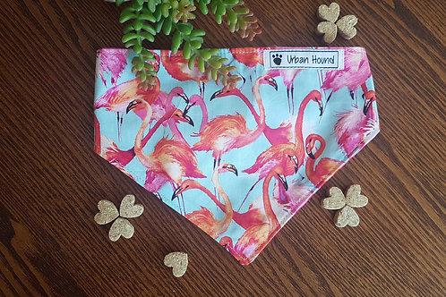 Flamingo Print Bandana fully reversible backing