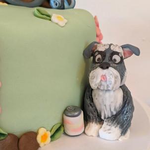 "Fondant Bike Birthday Cake. Four layers of 6"" vanilla sponge filled with raspberyy jam and vanilla buttercream, decorated with fondant figures."