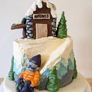 Ski Lodge Birthday Cake