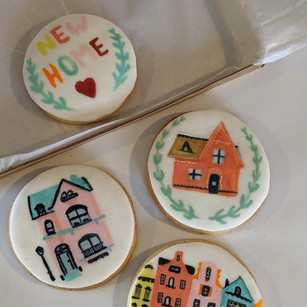Hand Painted New Home Biscuit Box