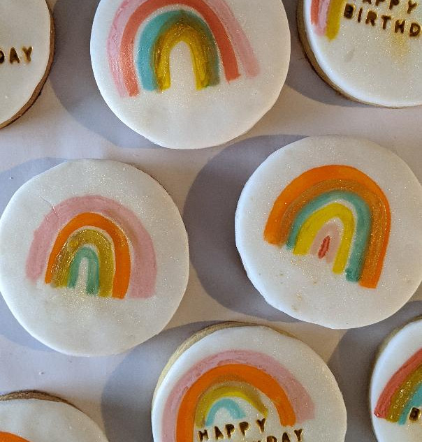 Hand Painted Rainbow Biscuits