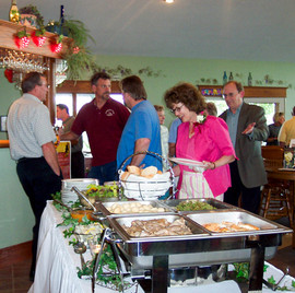 Luncheon Hot Buffet at Mackinaw Valley Vineyard with Paul at Bar