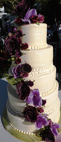 5 Tiered Wedding Cake With Purple Flowers