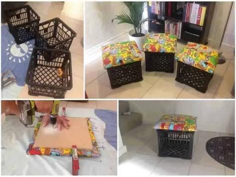 12個塑膠籃改造家俱的創意