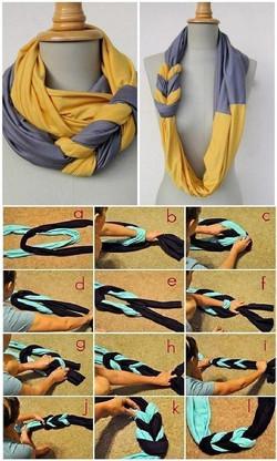 利用舊T恤,也可以改造成時尚圍巾