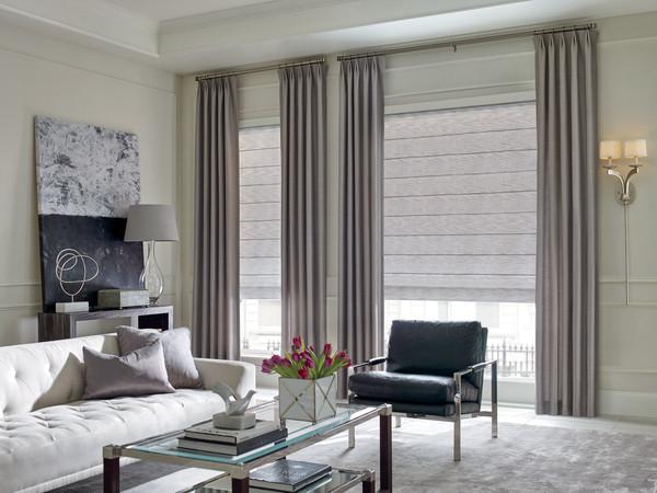 Designer Roman Shades with Drapery Panels