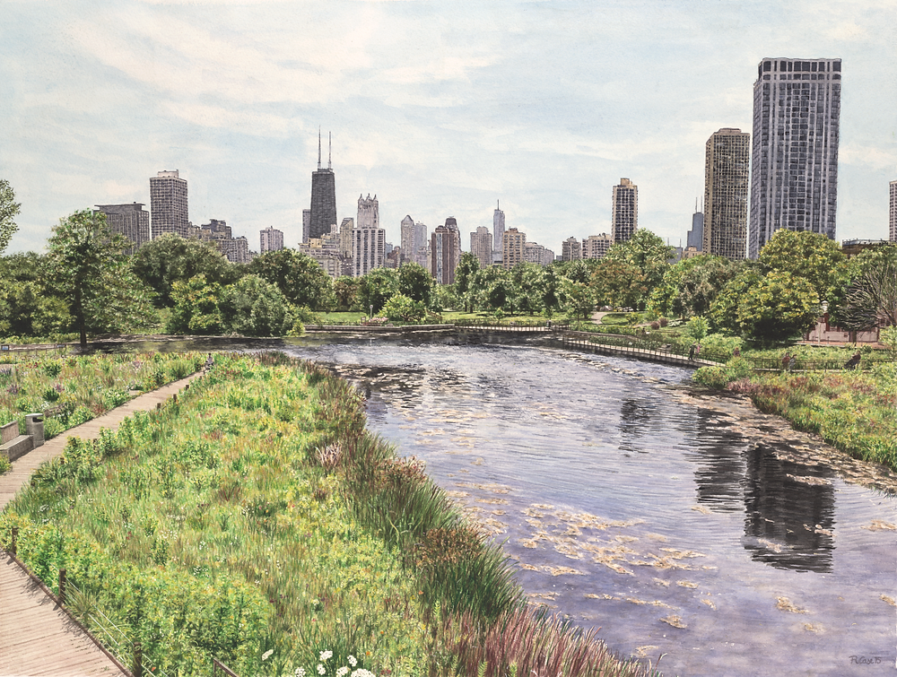 A Day with Laura Lee new watercolor print of Chicago skyline now available
