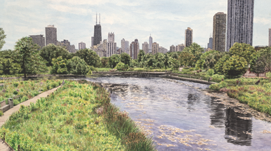 "New Chicago landscape painting ""A Day with Laura Lee"" now available"