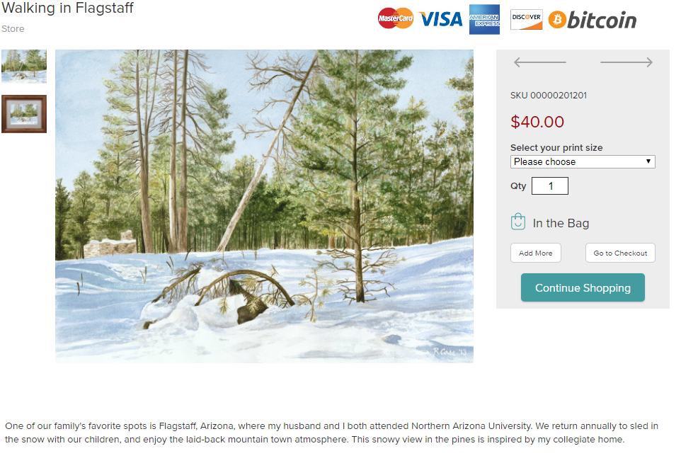Rebecca Case Watercolor prints shopping by credit card, debit card, or Bitcoin