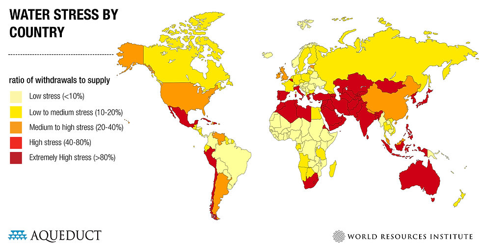 Water Stress by Country Map