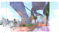 An elevated park with community spaces