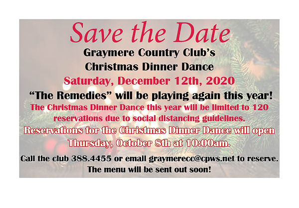 Save the Date Christmas Dinner Dance 12.