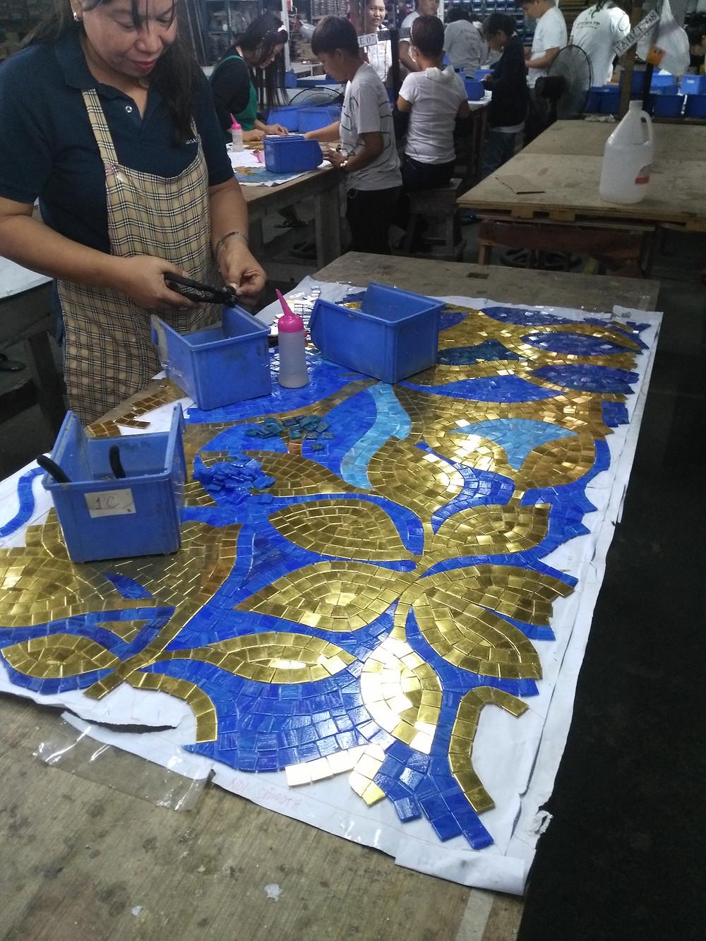 Hand cut design with 24 Karat Gold Bisazza Mosaic Tiles
