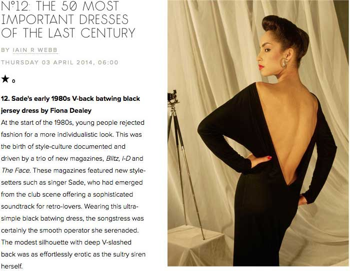 Sade, the iconic backless dress