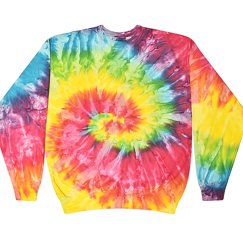 NEON-SATURN-SPIRAL-TYE-DYED-PATTERN/NEW-WARM-PREMIUM-FLEECE-CREW-NECK-SWEAT-TOPS