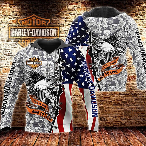 HARLEY-DAVIDSON-MOTORCYCLE-BIKER-CAMO-PULLOVER-HOODIE/CUSTOMIZED-3D-LIVE-TO-RIDE