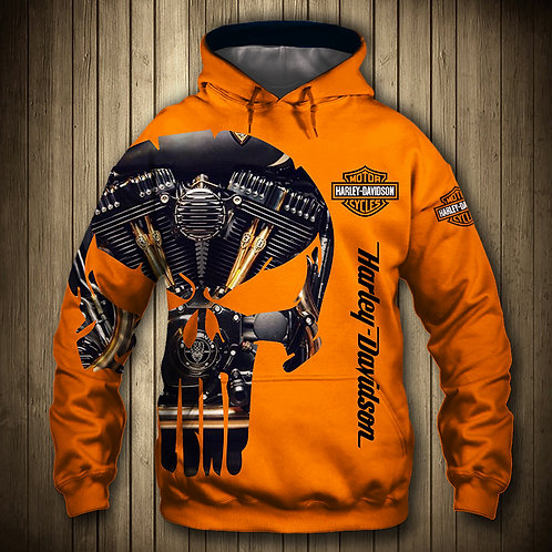 OFFICIAL-HARLEY-DAVIDSON-MOTORCYCLE-PULLOVER-HOODIE/CUSTOM-PUNISHER-MOTOR-SKULL!
