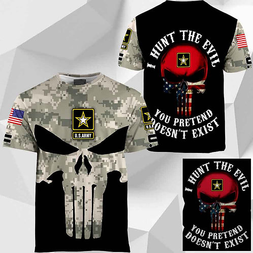 OFFICIAL-U.S.ARMY-CAMO.SHORT-SLEEVE-TEE/CUSTOM-3D-GRAPHIC-PRINTED-PUNISHER-SKULL