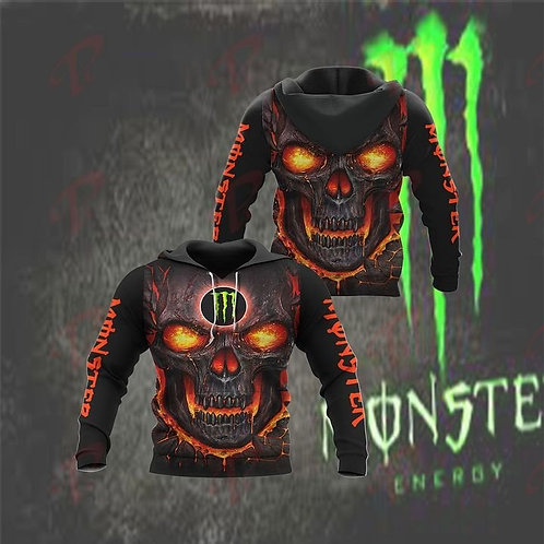 OFFICIAL-MONSTER-ENERGY-PULLOVER-HOODIE/CUSTOM-3D-GRAPHIC-NEON-RED-GLOWING-SKULL
