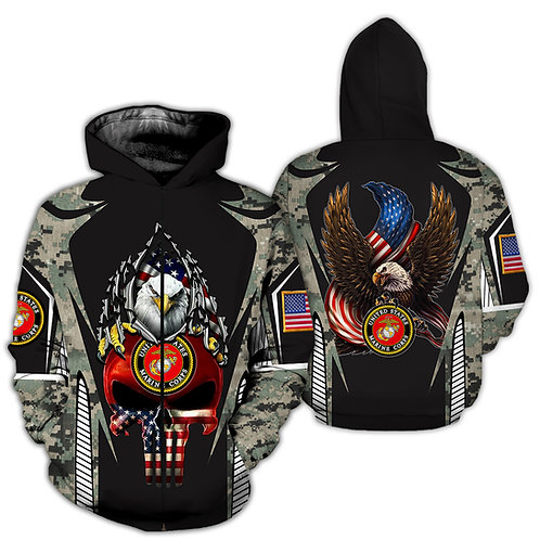 OFFICIAL-U.S.MARINES-ZIPPERED-HOODIES/NEW-GRAPHIC-PRINTED-3D-CAMO.PUNISHER-SKULL
