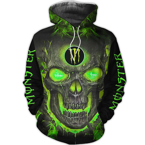 OFFICIAL-MONSTER-ENERGY-PULLOVER-HOODIE/NEW-CUSTOM-3D-GRAPHIC-NEON-GLOWING-SKULL