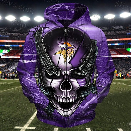 N.F.L.MINNESOTA-VIKINGS-ZIPPERED-HOODIES/OFFICIAL-TEAM-COLORS-BIG-SKULL & CHAINS