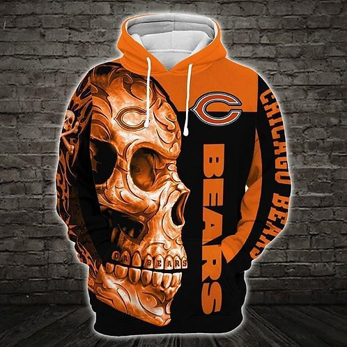 OFFICIAL-N.F.L.CHICAGO-BEARS-PULLOVER-TEAM-HOODIE/CUSTOM-3D-GRAPHIC-TRIBAL-SKULL