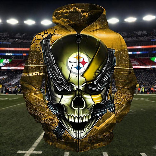 OFFICIAL-N.F.L.PITTBURGH-STEELERS-ZIPPERED-HOODIE/CUSTOM-3D-GRAPHIC-CHAINS-SKULL